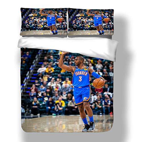 SmallNizi Juego de Funda nórdica Chirs Oklahoma City Basketball Player Bedding CP3 Paul Thunder Super Star Make The Hoop Backboard Edredón con 2 Fundas de Almohada Houston Charlotte Rockets Ho