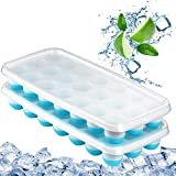 Ice Cube Trays Easy Release-Odor free,Spill Resistant Lid Included,2 Pack, Small Size, Stackable 42 Cubes,Silicone(Blue)