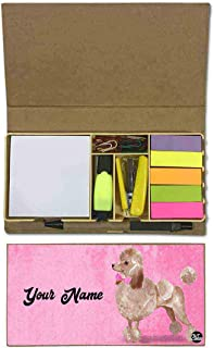 Nutcaseshop Personalized Stationary Kit Desk Customised Organizer Memo Notepad Sticky Note Tabs - Classy Poodle