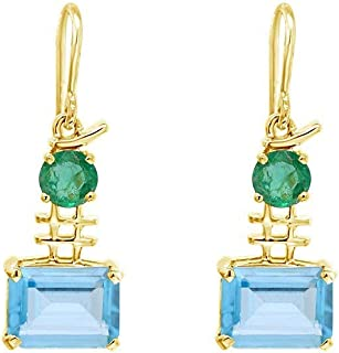 Gehna 18k (750) Yellow Gold, Emerald and Aquamarine Drop Earrings for Women