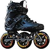Patines en línea ajustables para patinaje profesional de una hilera, patines en línea para adultos, patines universales para hombres y mujeres (color: negro, talla: 38)