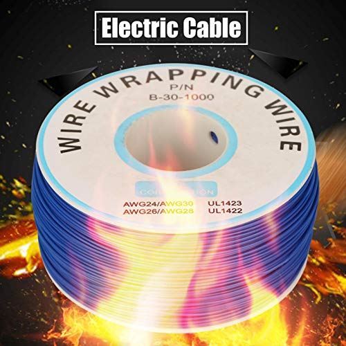 30AWG Cable de cobre estañado de silicona flexible y duradero 1 rollo de alambre de envoltura de cable único filamento de 200 metros industrial para placa base portátil con carrete de plástico (azul)