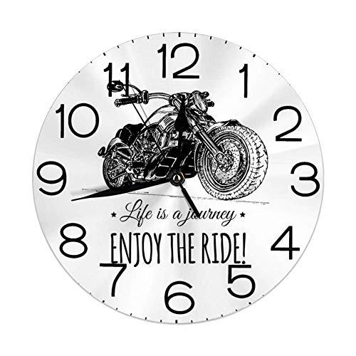 Silent Wall Clock Non Ticking 10 Zoll Quarz Runde dekorative, detaillierte handgezeichnete Motorrad und EIN inspirierendes Zitat Kunstdruck