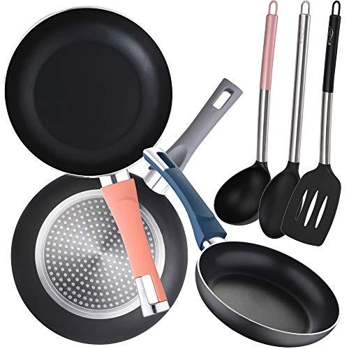 Lot de 3 poêles (Ø18,20,24 cm) en aluminium pressé, induction avec 3 ustensiles de cuisine en nylon