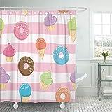 NotApplicable Duschvorhang Süßigkeiten EIS Donuts Cupcakes Linear Weiß Und Pink Zum Geburtstag Die Mit Haken Badezimmer Duschvorhang Wasserdicht Verstellbar Badezimmer Vorhang Dekorative Bad Vo
