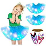 2Pcs Girls Led Mini Tutu Skirt Light Up Performing Dance Skirt 3 Layered Party Tulle Ballet Princess Dress 2-8T Color7