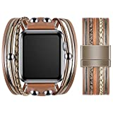 VIQIV Multi-Layer Wrap Bracelet Band Compatible with Apple Watch 42mm 44mm Sports Watches for Men Women, Magnetic Buckle Cuff Bracelet Jewelry Wrist Strap for iWatch Series SE 6/5/4/3/2/1, Beige