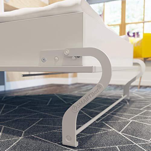 Schrankbett 160×200 weiss mit Gasdruckfedern, ideal als Gästebett – Wandbett, Schrank mit integriertem Klappbett, SMARTBett - 6