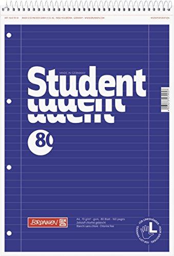 Brunnen 106791101 Notizblock / Collegeblock Student (für Linkshänder, A4, liniert, Lineatur 27, 70 g/m², 80 Blatt, mit Kopfspirale)