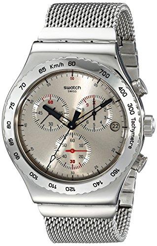 Swatch YVS405G - Reloj cronógrafo de Cuarzo para Hombre con Correa de Acero Inoxidable, Color Plateado