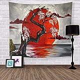 lbonb Giappone Kanagawa Onde Arazzo Giapponese Whale Arowana Arazzi da Parete Arazzi Boho Copriletto Yoga Tappetino Coperta Arazzo Arte