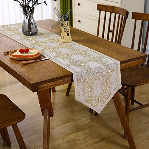 Camino de mesa de encaje clásico beige decoración de mesa para boda fiesta bordada de recepción corredores de 250 cm