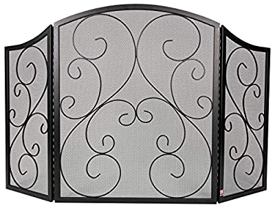 """Fire Beauty Fireplace Screen 3 Panel Wrought Iron Black Metal 48""""(L) x30(H) Spark Guard Cover(Black) from Fire Beauty"""