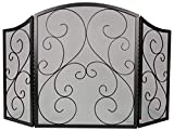 Fire Beauty Fireplace Screen 3 Panel Wrought Iron Black Metal 48'(L) x30(H) Spark Guard Cover(Black)