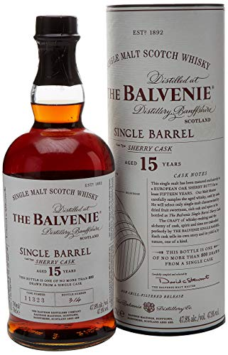 The Balvenie Single Barrell 15 Jahre Single Malt Scotch Whisky mit Geschenkverpackung (1 x 0,7 l)