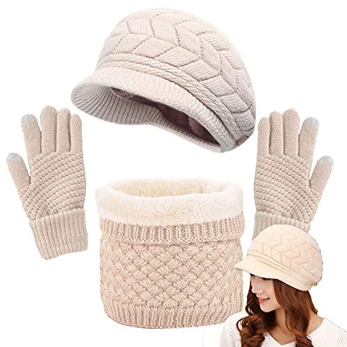CheChury Gorras Invierno con Bufanda y Guantes Mujer Moda Calentar Sombreros Gorras de Punto Forro de Lana Guantes Táctiles Deportes de Invierno,Beige,Onesize
