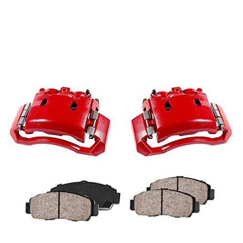 Callahan CCK01158 [2] FRONT Performance Loaded Powder Coated Red Caliper Assembly + Quiet Low Dust Ceramic Brake Pads