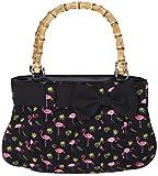 Küstenluder Damen Handtasche Viona Flamingo Bambus Shopper Schwarz