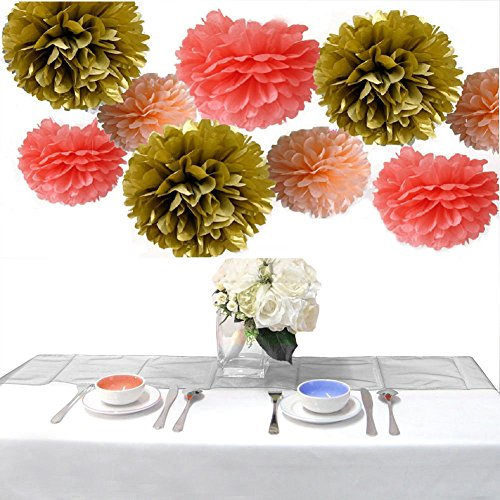 Somnr®Set of 9 Coral Peach Gold Wedding Flower Tissue Paper Pompoms Birthday Nursery Bridal Shower Hanging Party Decoration by Somnr