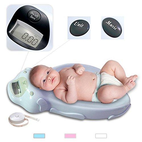 Sotech Digitale Babywaage mit Musik, Neugeborene Haustierwaage mit Tara-Funktion & Messband, Max Belastbarkeit bis 20 kg, Blau