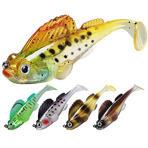 TRUSCEND Fishing Lures for Bass Trout Jighead Lures Paddle Tail Swimbaits Soft Fishing Baits Freshwater Saltwater Jigging Bass Fishing Lures(3.5inch,10pcs)