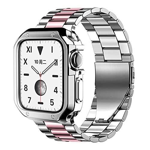 CMXXFA Bandas de reloj de silicona cubierta protector+correa de metal para Apple Watch SE/7/6/5/4/3/2 banda de iwatch 44mm 40mm 42mm 38mm pulsera de acero inoxidable+herramienta