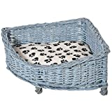PawHut Wicker Raised Dog Bed Cat Sofa Elevated Couch Lifted Corner with Soft Plush Cushion Elevated Base Grey 58 x 58 x 28cm