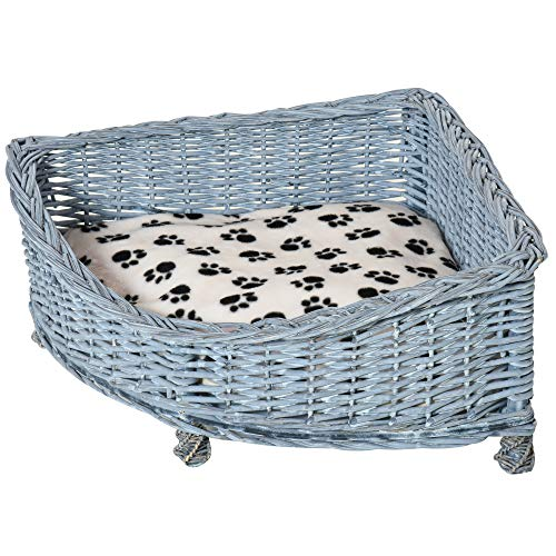 PawHut Wicker Dog Corner Basket Pet Bed Sofa Couch with Soft Plush Cushion Elevated Base Grey