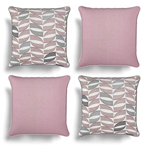 Set of 4 Pink Cushion Covers, Pack of Four Matching Blush Geometric and Plain Design Cotton Cushion Covers, Piped Trim Cushion Cases, Sofa Chair Throw Pillow Cases, 17' x 17', 43cm x 43cm