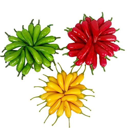 Lorigun 60 Stücke Künstliche Kleine Chili Simulation Pfeffer Mini DREI-Farbe (Rot + Gelb + Grün) Kleine Paprika Lebensechte Gefälschte Gemüse Wohnkultur Jede Farbe 20 Stücke