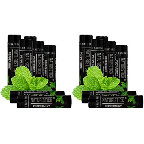 14-Pack Black Peppermint Lip Balm Gift Set for Men and Women by Naturistick (2 Gift Boxes, 7 Sticks Each). 100% Natural. Best Beeswax Chapstick for Healing Dry, Chapped Lips. Made in USA