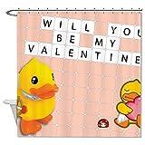 Rioengnakg Duschvorhang, schimmelresistent, Stoff, Aufschrift Will You Be My Valentine, Gelb, Polyester, 1, 72