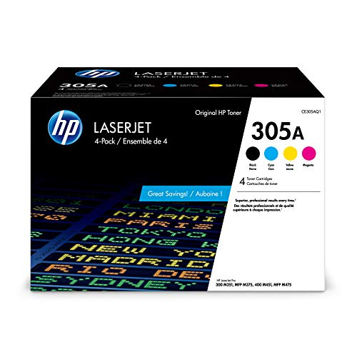 HP 305A | CE305AQ1 | 4 Toner Cartridges | Black, Cyan, Magenta, Yellow | Works with HP LaserJet Pro Color M451 series, M475 series, M375nw