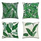 JOTOM Grün Tropische Pflanze Muster Kissenbezug 4er Set Kissenhülle Kopfkissenbezug 45 x 45cm für...