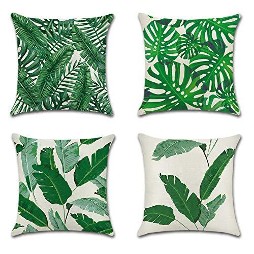 JOTOM Grün Tropische Pflanze Muster Kissenbezug 4er Set Kissenhülle Kopfkissenbezug 45 x 45cm für Sofa Auto Terrasse Zierkissenbezüge (Bananenblätter)