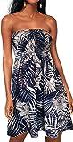 Womens Beach Sundress Cover ups Casual Strapless Boho Flower Printed Sleeveless Tube Dress (Leaf navy02,M)