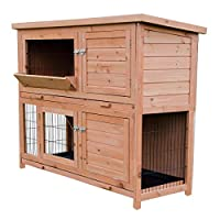 Two Tier Design Easy clean durable sliding tray for easy wipe clean maintenance Multiple access points and 4 opening doors Heavy duty metal wire & for protection from predators Integrated hay holder in the top door. Raised Legs and Sloping felted roo...