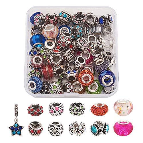 Cheriswelry - 60 piezas de 5 mm de aleación de diamantes de imitación europeos con gran agujero para abalorios con forma de estrella para cadenas de serpientes, pulseras, collares y joyas