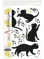 アクセサリーショップピエナ ウォールステッカー ハウスジータ ネコ 猫 音符 ハスジータ 壁 シール インテリア