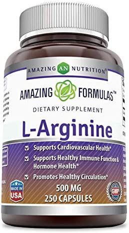 Amazing Formulas L-Arginine 500 mg Supplement - Best Amino Acid Arginine HCL Supplements for Women & Man - Promotes Circulation and Supports Cardiovascular Health - 250 Capsules
