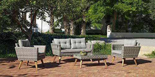 Atypik Home Salon De Jardin Sofa MERID en Acier Resine tressee Beige Grise Coussins Couleur Gris Mariland