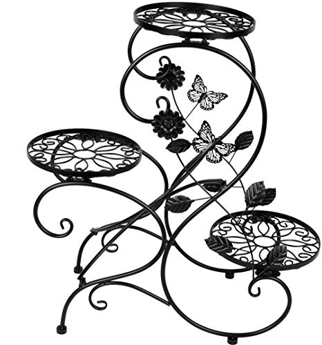 Umi. Essentials Blumentreppe Blumenständer Pflanzenregal Blumenregal mit 3 Töpfe aus Metall