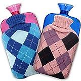 CAVN 湯たんぽ 袋付き 2個セット 2L お湯入れタイプ やわらか湯たんぽ 疲労緩和 肩足腹対応 メーカー保証2年付 (ブルー+ピンク)