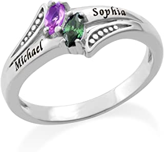 Personalized Couples Promise Ring - Engraved with Names and Swarovski Birthstone Gemstones