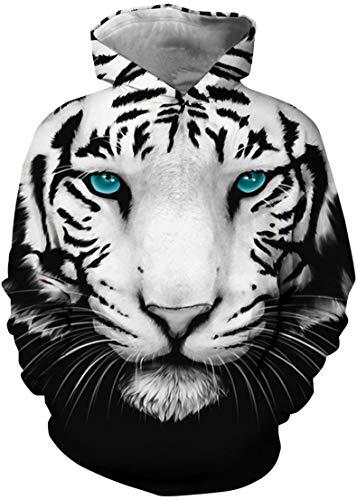 OLIPHEE Jungen 3D Digitaldruck Kapuzenpullover Tops Hoodie Kapuzenjacke mit Taschen Sweatshirt Tiger 5 M