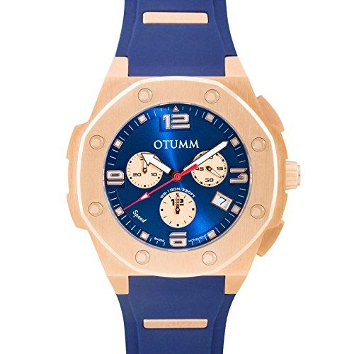 Otumm Speed Unisex Uhr Chronograph 45mm mit Blau Silikon Armband