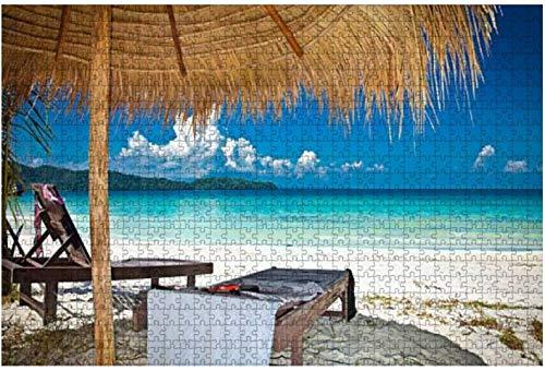Hermosa playa en la isla de Rong Samloem, Camboya Rompecabezas de madera para adultos Regalo creativo Juguetes Rompecabezas Decoración para el hogar, 500 piezas, 52 * 38 cm