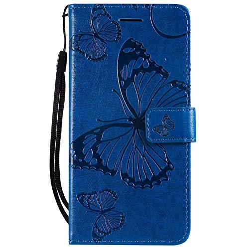 DENDICO Hülle für Xiaomi Play, PU Leder Handyhülle Schutzhülle mit Standfunktion & Kartenfach für Xiaomi Play - Blau