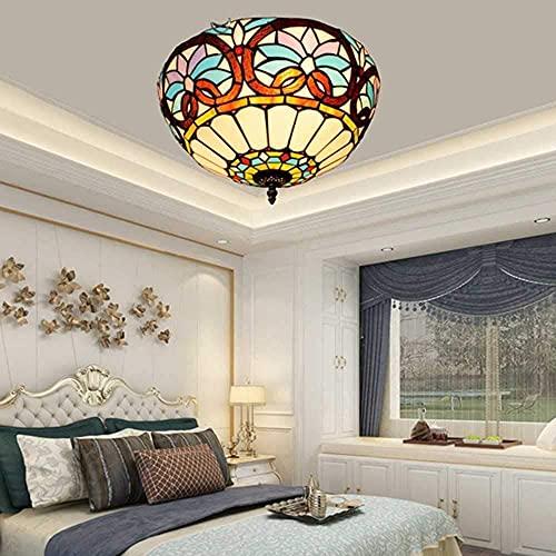RSQJ Luz de techo de estilo de araña interior creativo, lámpara de techo de cristal manchado retro, iluminación de araña mediterránea simple para sala de estar Dormitorio Dormitorio Corredor Luces de