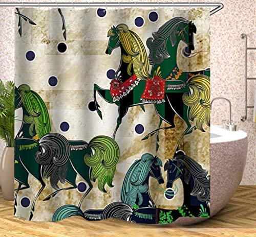 JgZATOA Grün Duschvorhang Tier Pferd Bad Vorhang Wasserdicht Badewanne Vorhang Schimmel Resistent Polyester Bad Dekor180X200Cm
